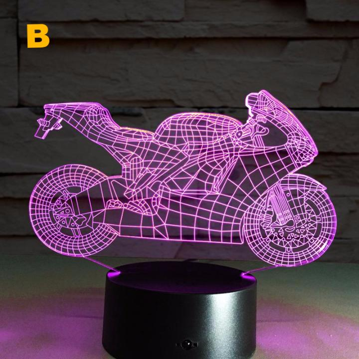 USB 3D Motorcycle LED Night Light with 7 Colors, Acrylic Discoloration and Colorful Atmosphere