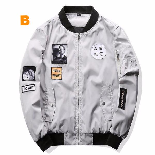 Slim Fit Pilot Bomber Jacket with Patch Designs