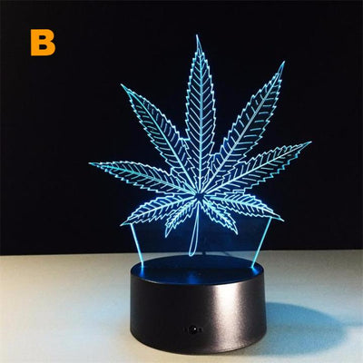 Marijuana Leaf 3D LED Night Light with Touch Switch - 3D Lamp, 7 Colors, Changing Acrylic Weed Desk Table Lamp