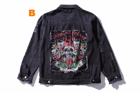High-quality black male denim jacket with skull face embroidery