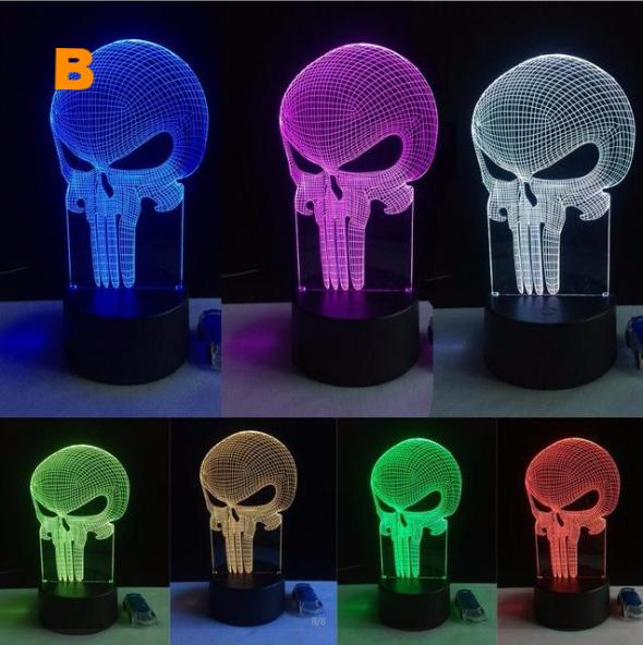 Unique Long Skull 3D LED Visual Nightlight with 7 Color Changing Atmosphere - Bedroom Desk Lamp