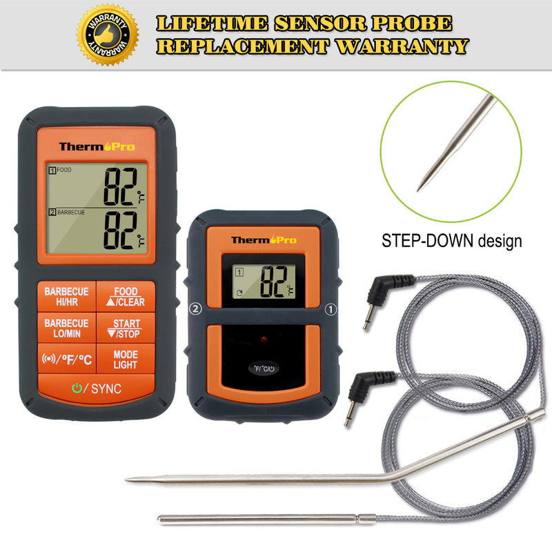 100M Remote Wireless Kitchen Dual Probe Thermometer With Timer For BBQ, Smoker, Grill, Oven Meat