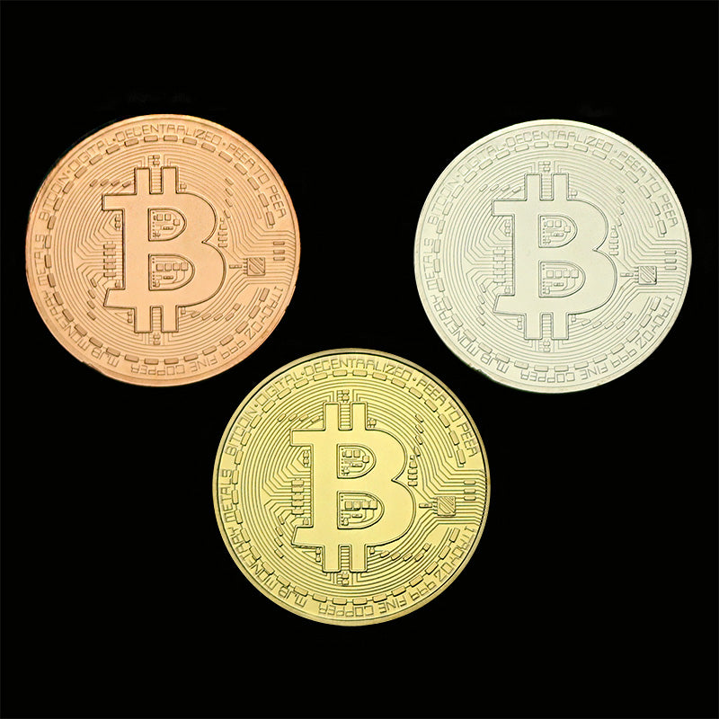 3Pcs/Set Bitcoin BTC Medal Gold/ Silver/ Copper Plated Steel Coin Souvenir