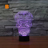 Creative Artistic 3D Visualization Skull Shape LED Night Table Lamp for Home Decoration.