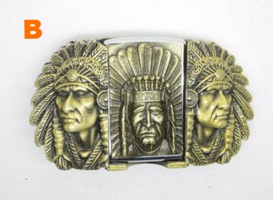 Bronze Native American Chief Lighter Belt Buckle