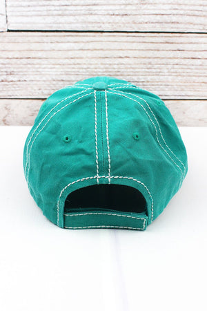 Happy Camper Turquoise Distressed Hat