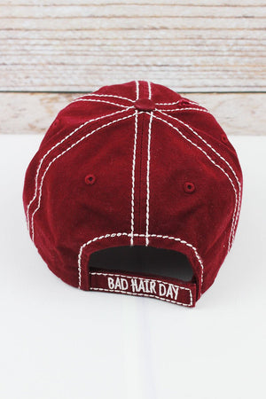 Bad Hair Day Burgundy Distressed Hat