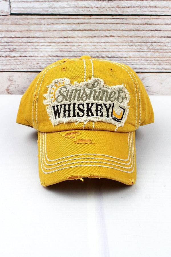 Sunshine and Whiskey Yellow Distressed Hat