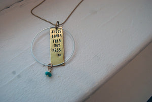 Jesus Loves This Hot Mess Necklace