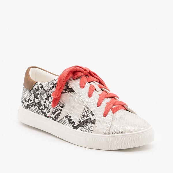 Stroll With It Snakeskin Sneaker - White Snake