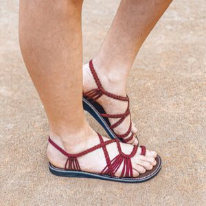 Palm Leaf Flat Summer Sandals - Sunset Sangria