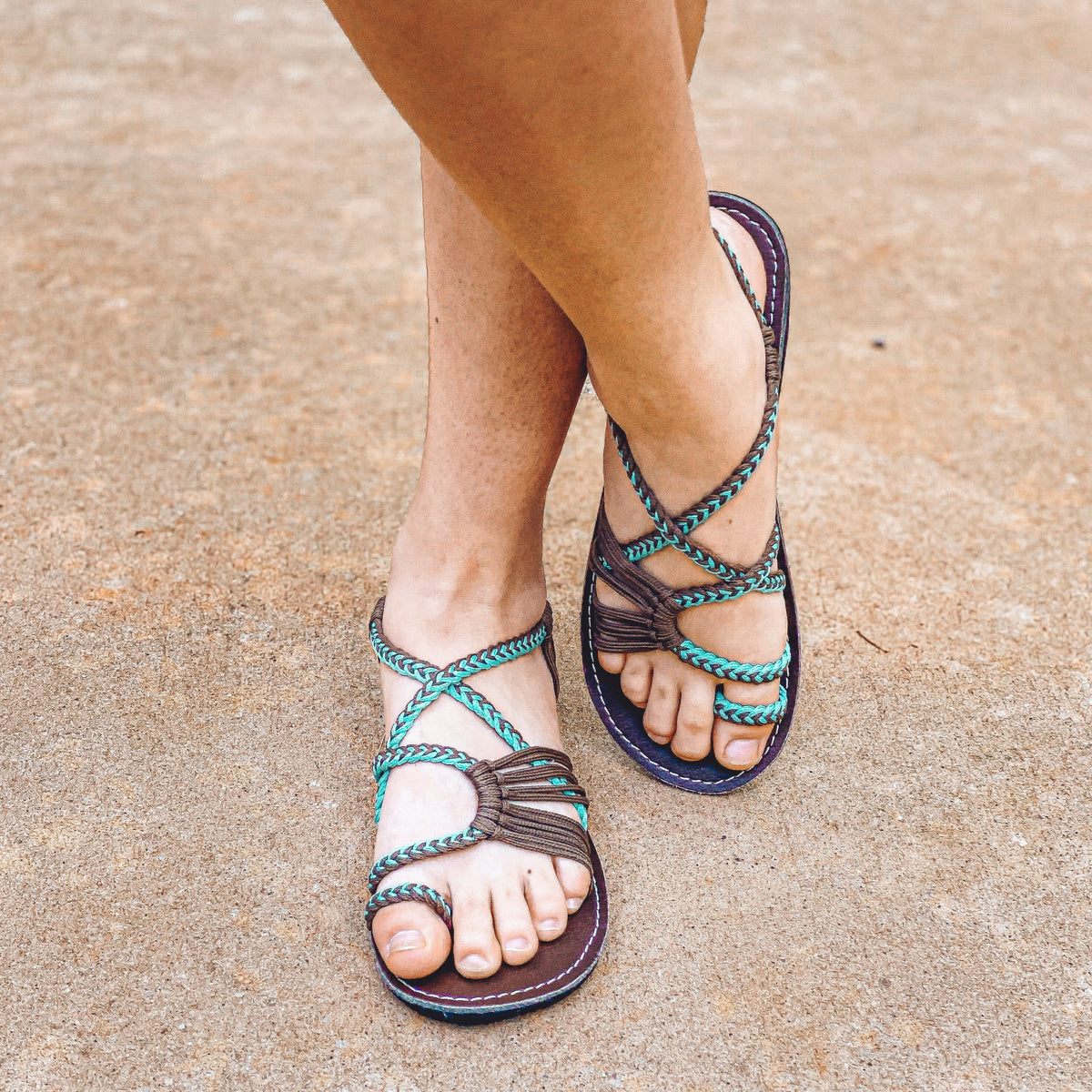 Palm Leaf Flat Summer Sandals - Turquoise Gray