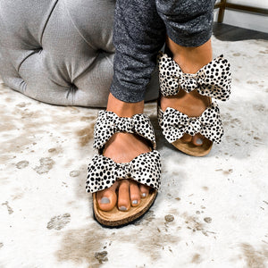 Bow Before Me Slipper Sandals- Cheetah