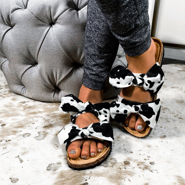 Bow Before Me Slipper Sandals- Cow