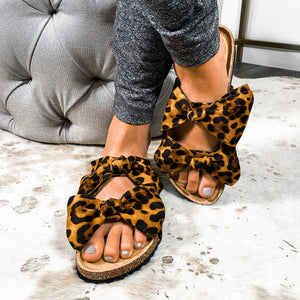 Bow Before Me Slipper Sandals- Leopard