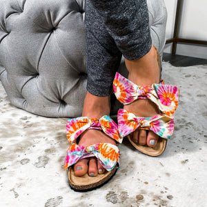 Bow Before Me Slipper Sandals- Tie Dye