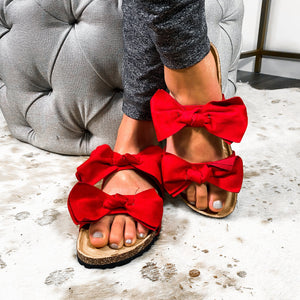 Bow Before Me Slipper Sandals- Red