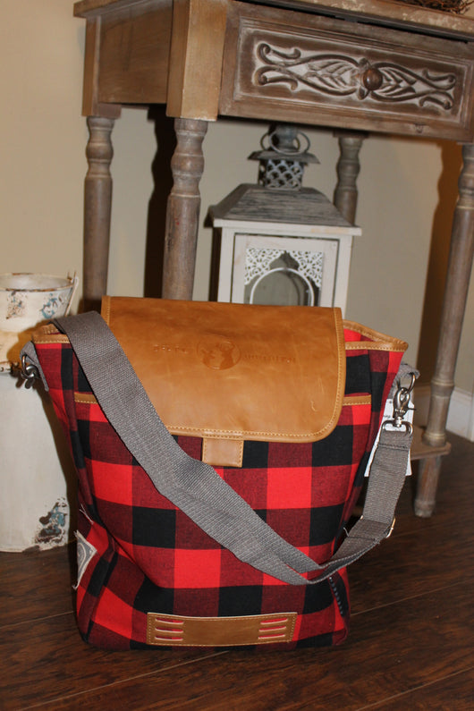 Down The Beating Path Tote: Red Plaid