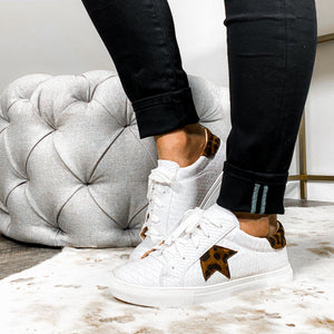 Stroll With It Snakeskin Sneaker - White Cheetah