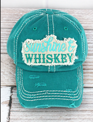 Distressed Turquoise 'Sunshine & Whiskey' Hat