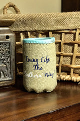 Dearly Southern Co Burlap Bottle Koozie: Mint