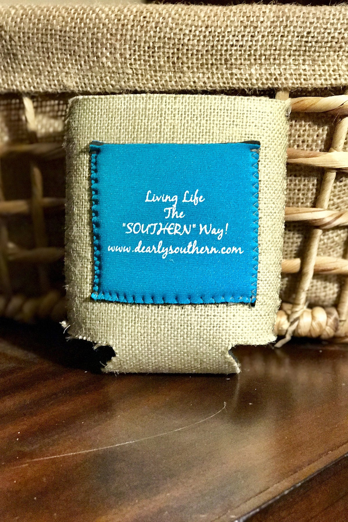 Dearly Southern Co Little Buddy Burlap Koozie