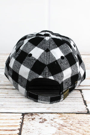 White and Black Buffalo Plaid Cap