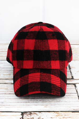 Red and Black Buffalo Plaid Cap