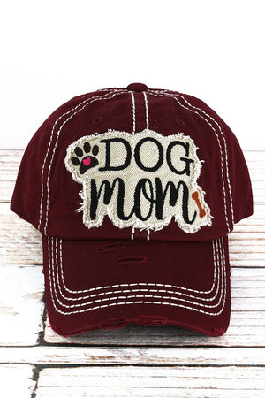 Dog Mom Distressed Burgundy Hat