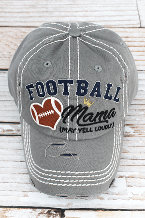 Distressed Light Gray 'Football Mama (May Yell Loudly)' Hat