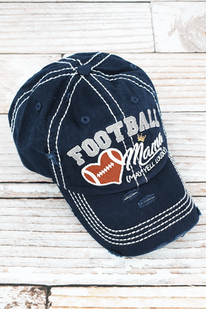 Distressed Navy 'Football Mama (May Yell Loudly)' Hat