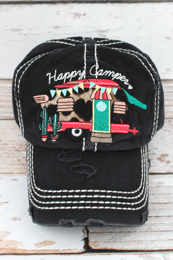 Distressed Black with Leopard 'Happy Camper' Hat