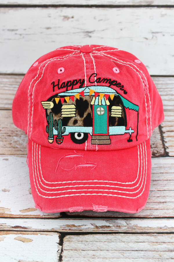 Distressed Salmon with Leopard 'Happy Camper' Hat