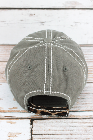 Distressed Steel Gray with Leopard 'Happy Camper' Hat