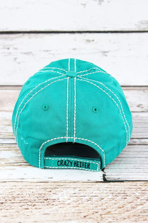 Distressed Turquoise 'CRAZY HEIFER' Hat
