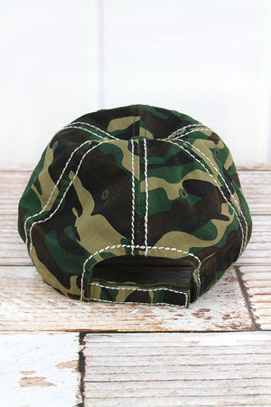 Distressed Camo 'This Heifer Don't Take No Bull' Hat