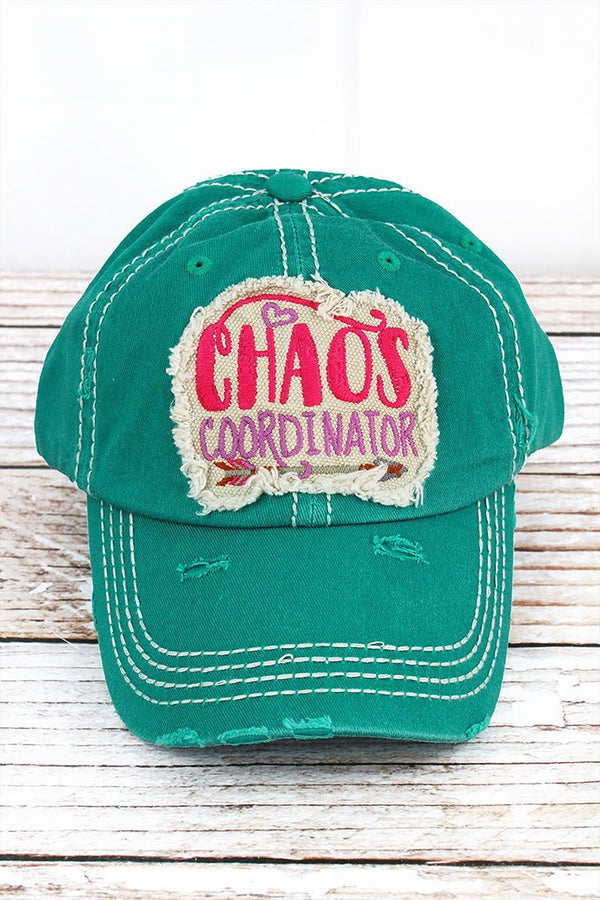 Distressed Turquoise 'CHAOS COORDINATOR' Hat