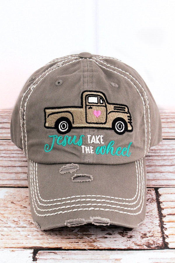 Distressed Steel Gray 'Jesus Take The Wheel' Hat