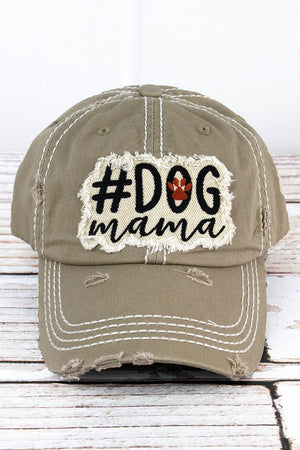 Distressed Khaki '#Dog Mama' Hat