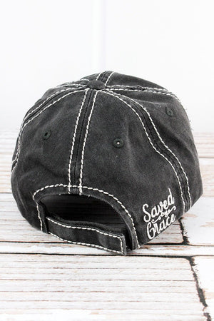 Distressed Black 'Saved By Grace' Hat