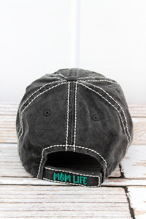 Distressed Black 'Thou Shalt Not Try Me Mom 24:7' Hat
