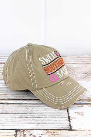 Distressed Khaki 'SWEET SOUTHERN & SASSY' Hat