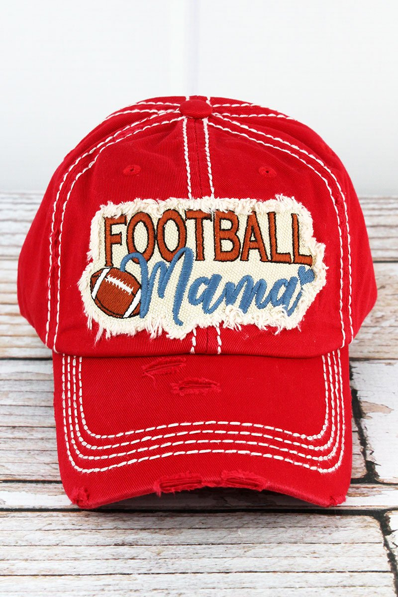 Distressed Red 'Football Mama' Hat