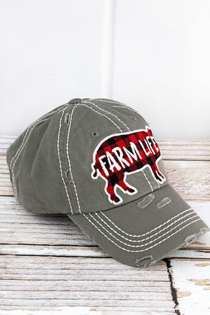 Distressed Steel Gray 'FARM LIFE' Buffalo Plaid Pig Hat