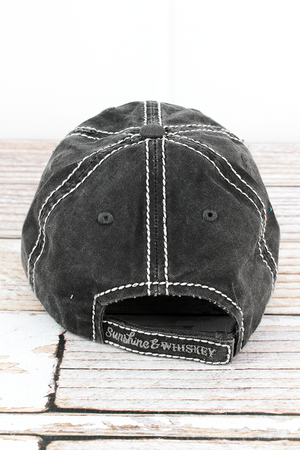 Distressed Black 'Sunshine & Whiskey' Hat