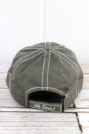 Distressed Steel Gray 'Oh Deer!' Hat