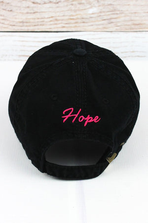Distressed Black with Pink Ribbon Hat