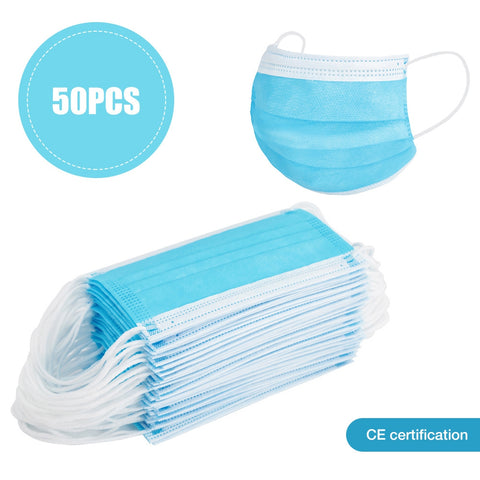 50PCS 3-layer Face Masks with Elastic Ear Loop Dustproof Anti-bacteria Disposable Protection