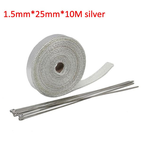 Alconstar- 5M/10M/15M Motorcycle Exhaust Thermal Tape Header Heat Wrap Manifold Insulation Roll Resistant with Stainless Ties