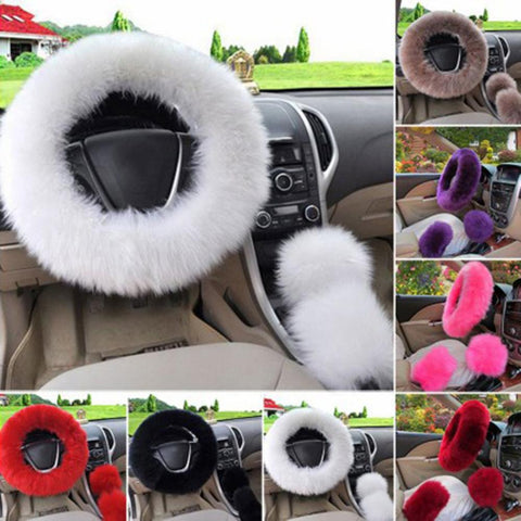 New Universal Soft Warm Long Wool Fuzzy Steering Wheel Cover Woolen Handbrake Car Accessory Sheep Fur Plush Protector Cover Kit